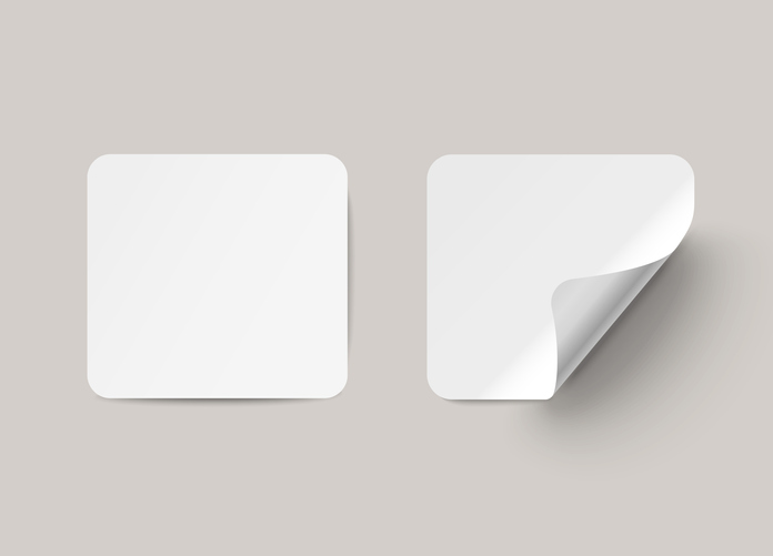 Vector square paper labels with curved corner, on transparent background.