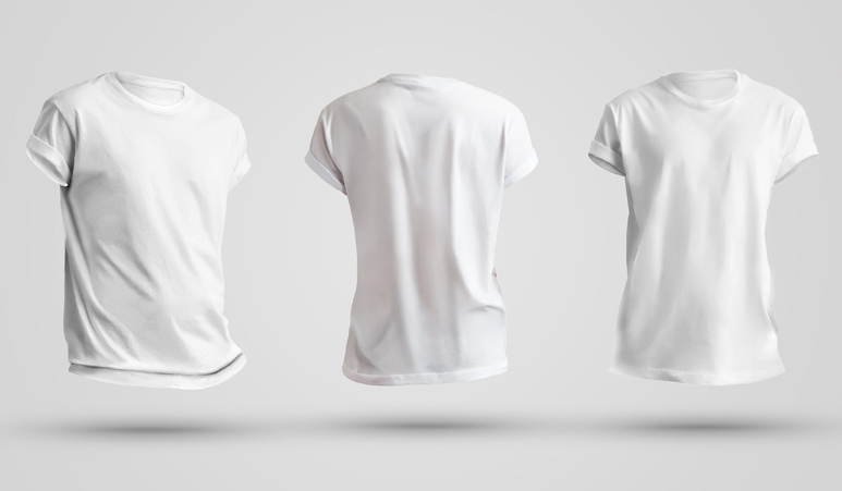 Set of blank men's t-shirts with shadows, front and back view. Design template on a white background. The mockup of clothes is ready for use in your store.