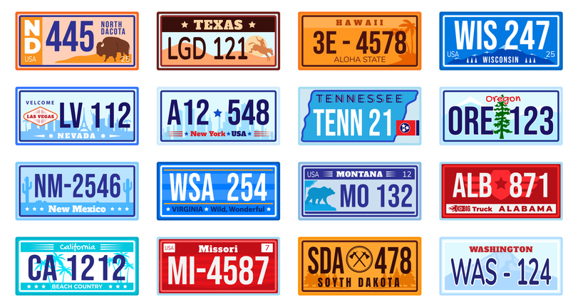 American car number plate vector illustration set. Cartoon flat retro vehicle registration numberplate collection of metal sign automobile board with digits and letters from America isolated on white