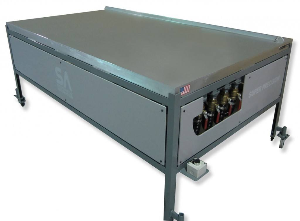 Vacuum table with zones actuated by valves.