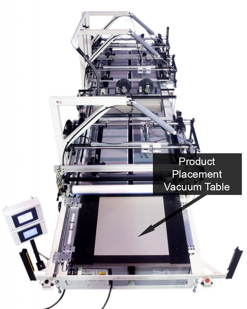 Vacuum table integrated with automatic screen printer.