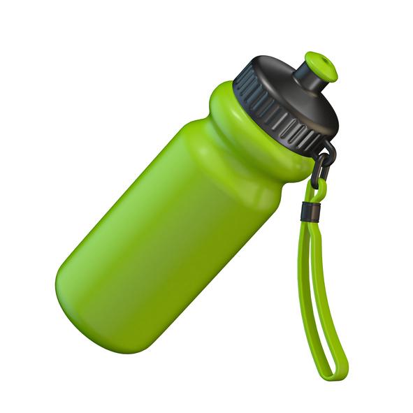 Green sport plastic water bottle standing 3D render illustration isolated on white background