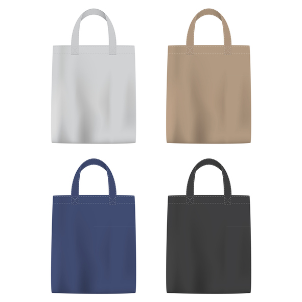 Vector illustration of bags in different colors on plain backgrounds
