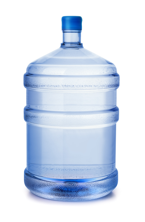 Five gallon plastic water bottle isolated on white